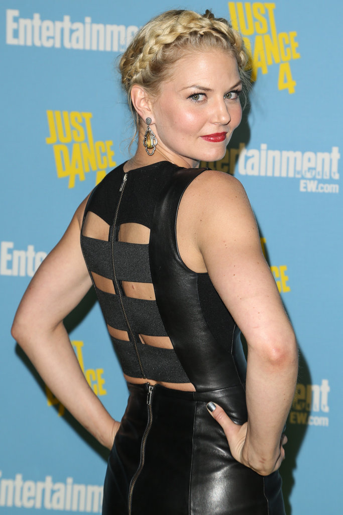 Jennifer Morrison showcased sexy back cutouts on a supersexy leather LBD by Mason by Michelle Mason.