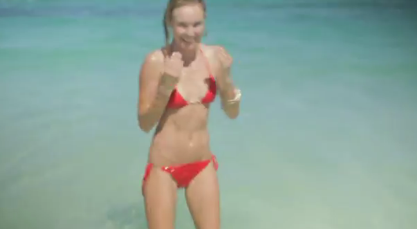 Kate in a red triangle bikini in Mexico.