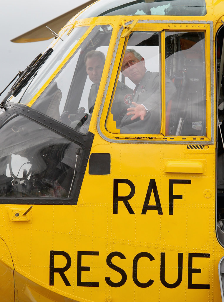 Prince William and Prince Charles took a ride in the helicopter.