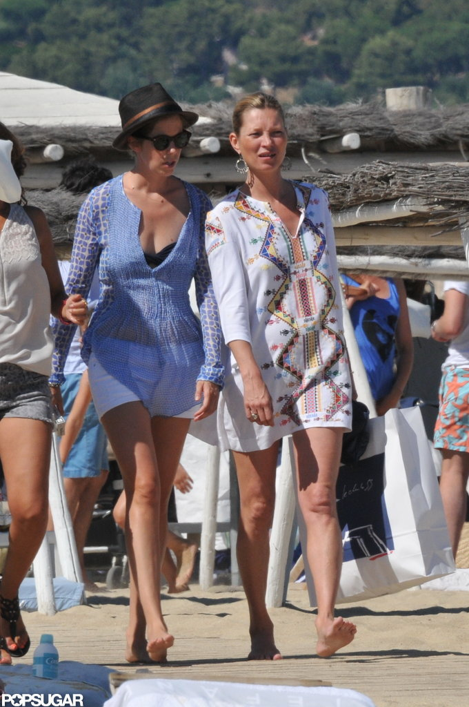 Kate Moss and a friend took to the beach.