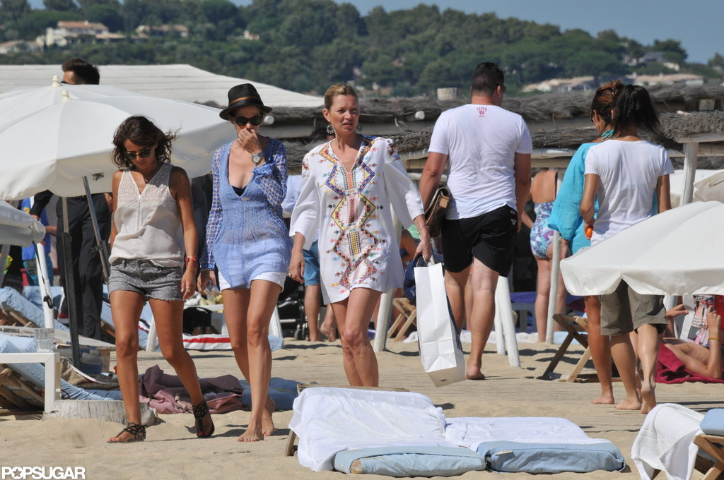 Kate Moss hit the sand in St. Tropez.