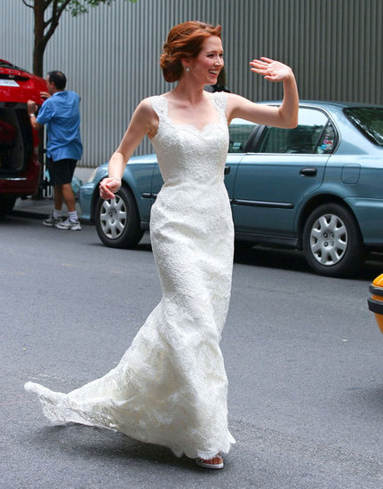 Ellie Kemper in her wedding dress.