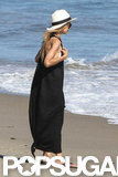 Rachel Zoe wore a long black maxi dress to the beach in Malibu.