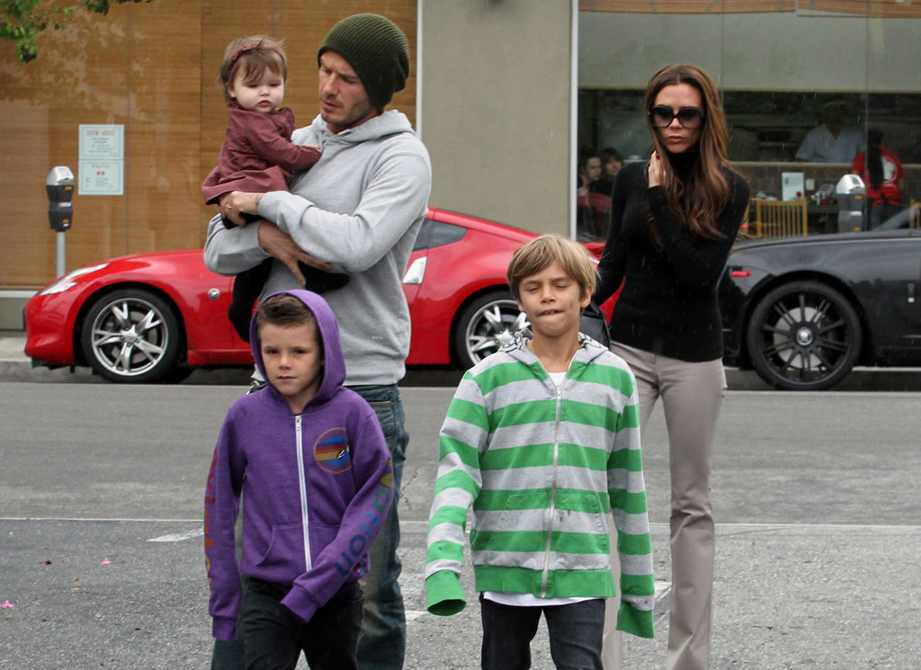 David and Victoria Beckham kept a close eye on Harper and the boys while leaving a March 2012 lunch date at Tsujita LA Artisan Noodle.