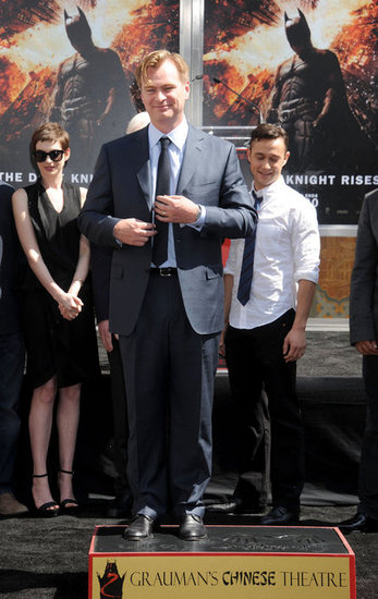 Christopher Nolan was honored at his hand and footprint ceremony with Anne Hathaway and Joseph Gordon-Levitt in attendance in LA.