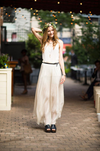 Nothing feels quite so ethereal as a sheer, creamy maxi (and a floral headdress). Photo courtesy of Adam Katz Sinding