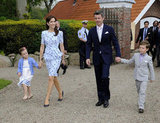Princess Mary opted for understated navy pumps to dress up her Project D design back in May.