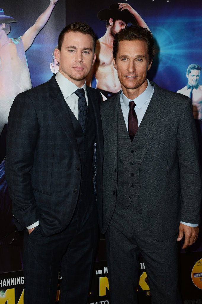 Costars Matthew McConaughey and Channing Tatum smiled together at the Magic Mike premiere in London.