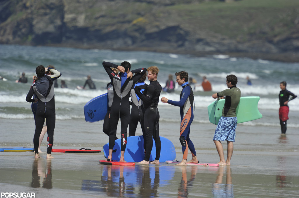 Prince William and Prince Harry zipped up their wetsuits.