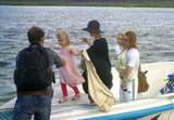 Vivienne Jolie-Pitt and Knox Jolie-Pitt got off a boat with Angelina Jolie and Brad Pitt after a family vacation in the Galapagos Islands in April 2012.