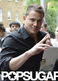 Channing Tatum threw up a peace sign during a visit to ITV Studios in London.