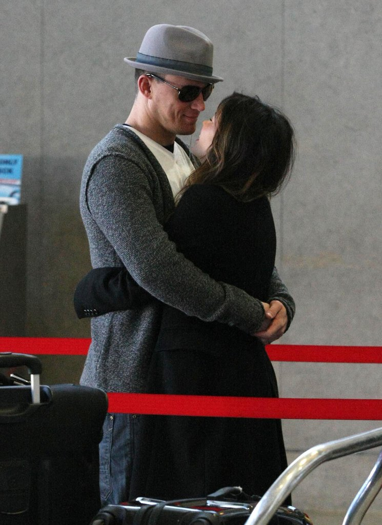 Channing Tatum and Jenna Dewan embraced at LAX in February 2012.