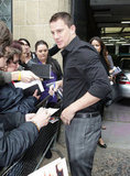 Channing Tatum chatted with fans before an appearance at ITV Studios in London.
