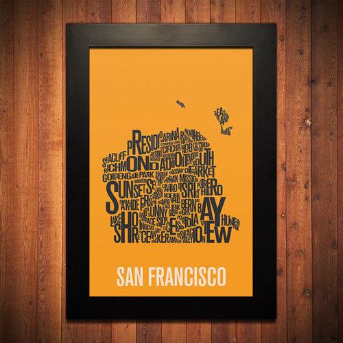 SAN FRANCISCO Typography Map Print