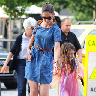 Katie Holmes Wearing Denim Dress