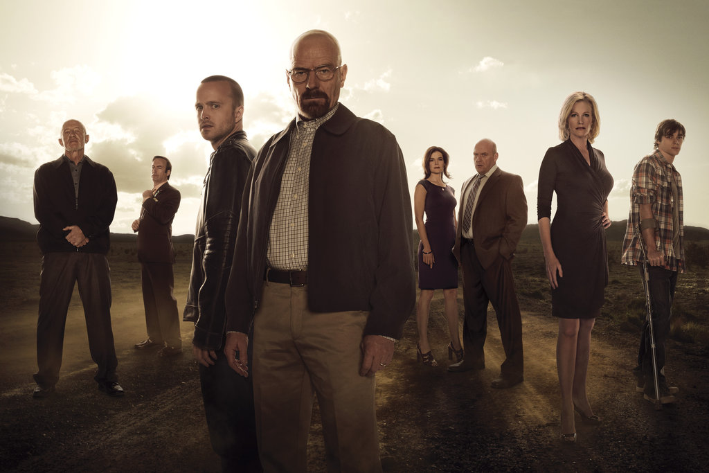 Jonathan Banks, Bob Odenkirk, Aaron Paul, Bryan Cranston, Betsy Brandt, Dean Norris, Anna Gunn, and R.J. Mitte on Breaking Bad.