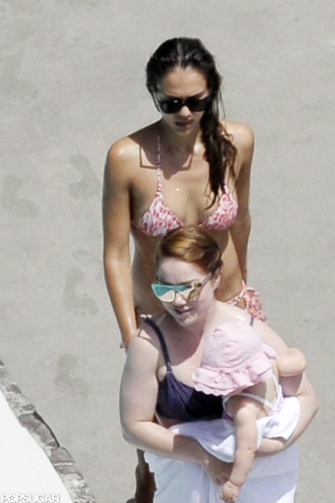 Jessica Alba wore a bikini in Italy.