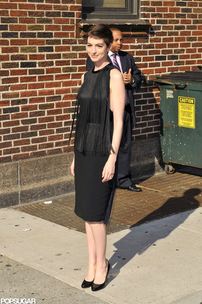 Anne Hathaway arrived for her interview.