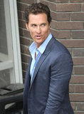 Matthew McConaughey hopped into his car after leaving ITV Studios.
