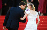 Diane Kruger took Joshua Jackson's arm to climb the stairs at Cannes in May 2012.