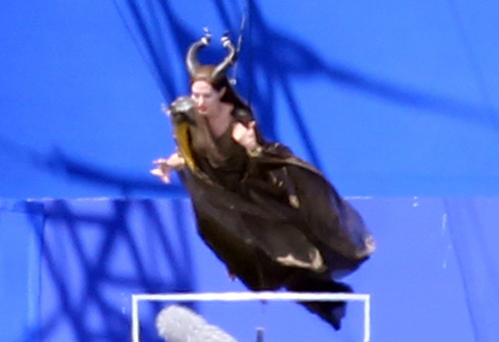 Angelina Jolie flew on a crane.