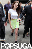 Kristen Stewart wore a mini skirt at Comic-Con.