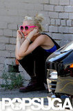 Gwen Stefani was all smiles as she chatted on the phone in Hollywood.