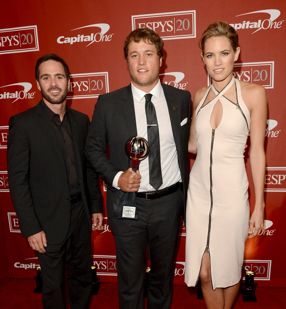 Jimmie Johnson and Cody Horn presented Matthew Stafford with the  award for best comeback athlete of the year.