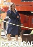 Kate Winslet wore a bathrobe on set.