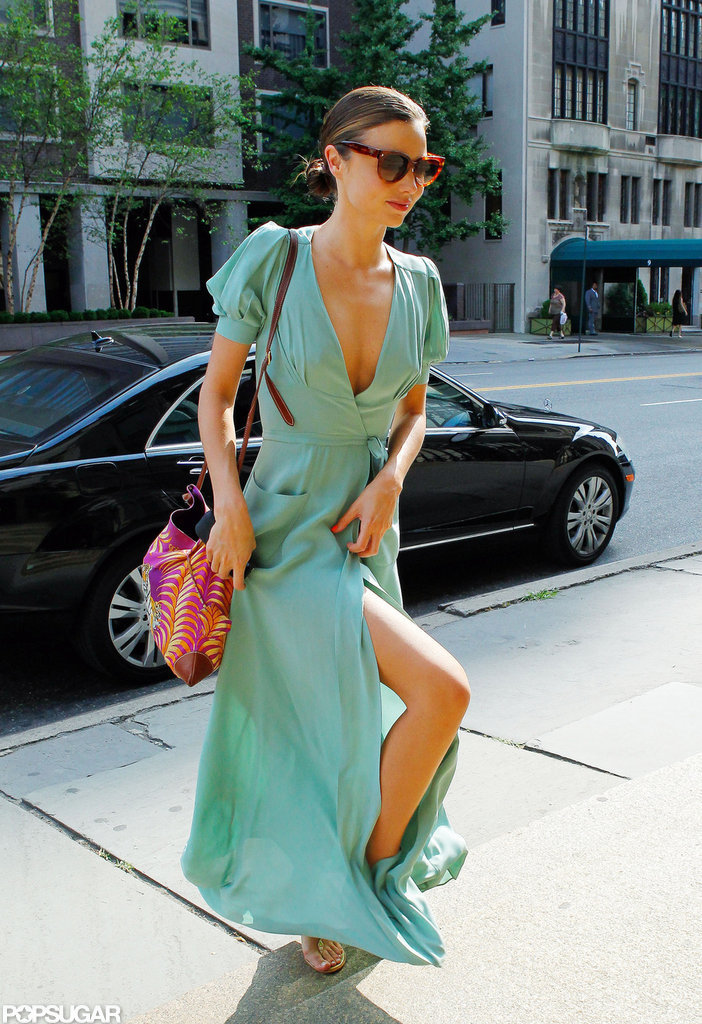 Miranda Kerr wore a silk, flowing dress.