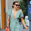 Miranda Kerr in Green Maxi Dress in NYC Pictures