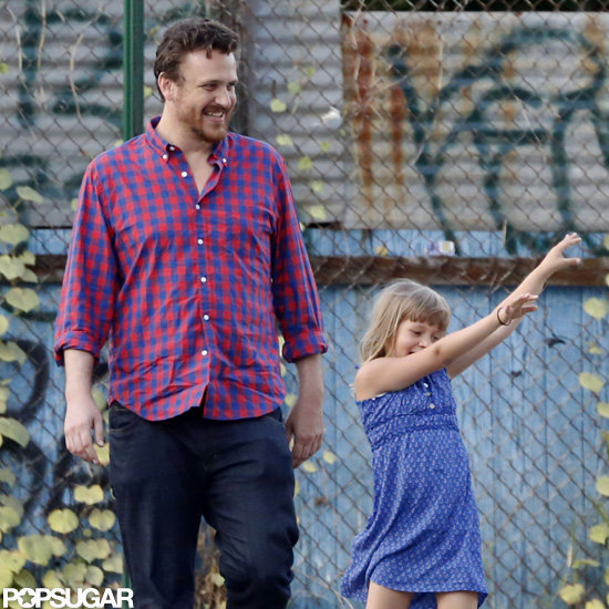 Jason Segel with girlfriend Michelle Williams' daughter Matilda Ledger in Brooklyn.
