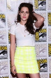 A zoomed-in look at Kristen's Summery high-waisted BCBG skirt.