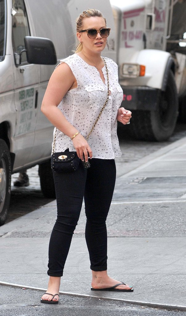 Hilary Duff wore a white tank in NYC.