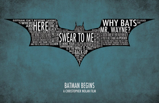 Batman Begins Typography Print ($15)