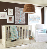 "Animal prints have been gathering momentum in nursery design for some time, but it's been rare to move beyond the leopard or cheetah print. The new ""Levi Nursery"" (fitted sheet, $19, crib skirt, $59, and bumper, $99) brings the look to the nursery in a fun and subtle way."