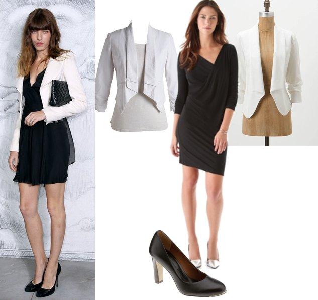 summer styling cropped white blazer little black dress