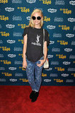 Jaime King showed off her cool-girl style in printed jeans and a vintage-inspired Yves Saint Laurent t-shirt.