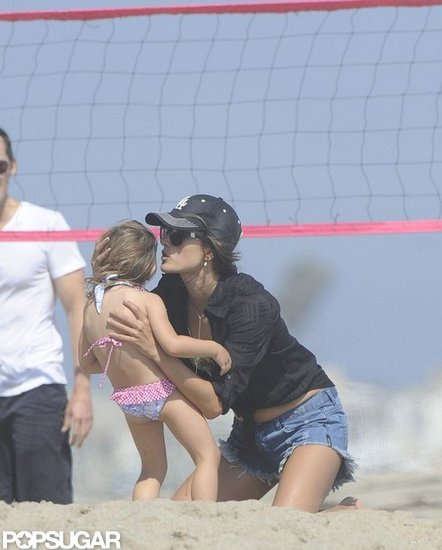 Alessanda Ambrosio kissed her daughter Anja Mazur.