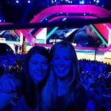 Cat Deeley took a self-portrait with a friend and the stage. Source: Instagram user catdeeley