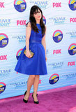 Zooey Deschanel looked sweet in a vintage-inspired cobalt blue Monique Lhuillier dress and Jimmy Choo clutch.