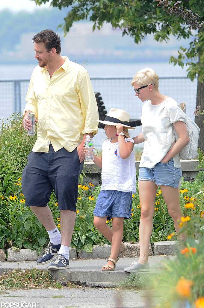 Jason Segel, Michelle Williams, and Matilda Ledger walked in Brooklyn.