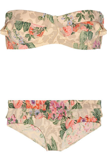 """This floral bikini reminds me of French vintage fabrics, and the shape is extremely flattering and almost quite '60s, plus no strap marks. Nifty . . ."" — Poppy Delevingne  Zimmermann Ruffled Bikini ($225)"