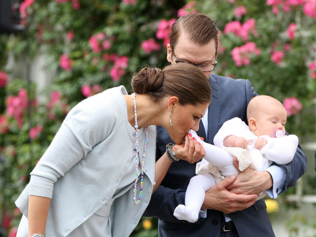 Crown Princess Victoria gave her precious princess a kiss.