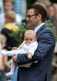 Prince Daniel held little Princess Estelle.
