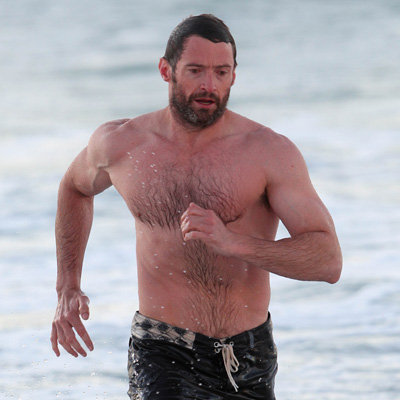 Shirtless Hugh Jackman Pictures at Bondi Beach in Sydney