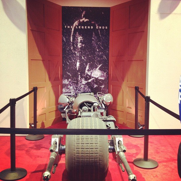 Shannon took a spin on the floor and snapped this pic of Batman's motorcycle in The Dark Knight Rises.