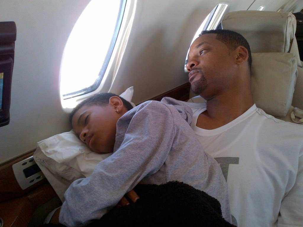 Willow Smith fell asleep on her dad Will's lap during a flight. Source: Twitter user jadapsmith