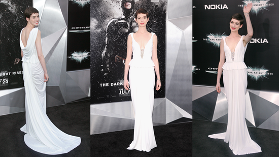 Anne Hathaway Debuts a White-Hot Gown at The Dark Knight Rises Premiere