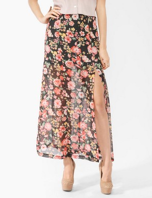 A slit plays double duty as a sexy and cooling detail on this pretty skirt.  Forever 21 Floral Print Maxi Skirt ($20)